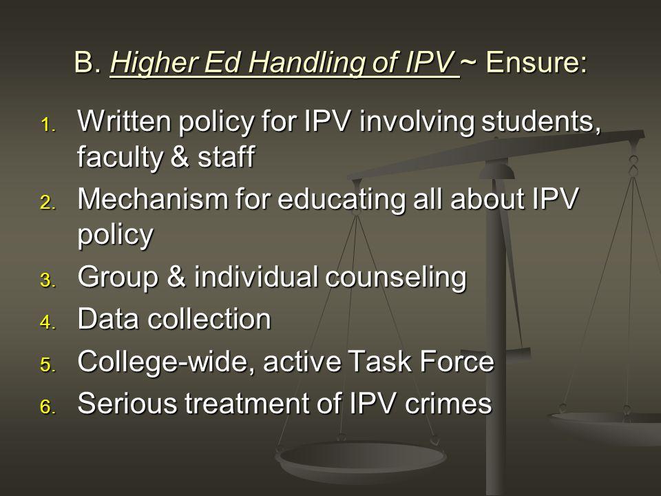 B. Higher Ed Handling of IPV ~ Ensure: 1.