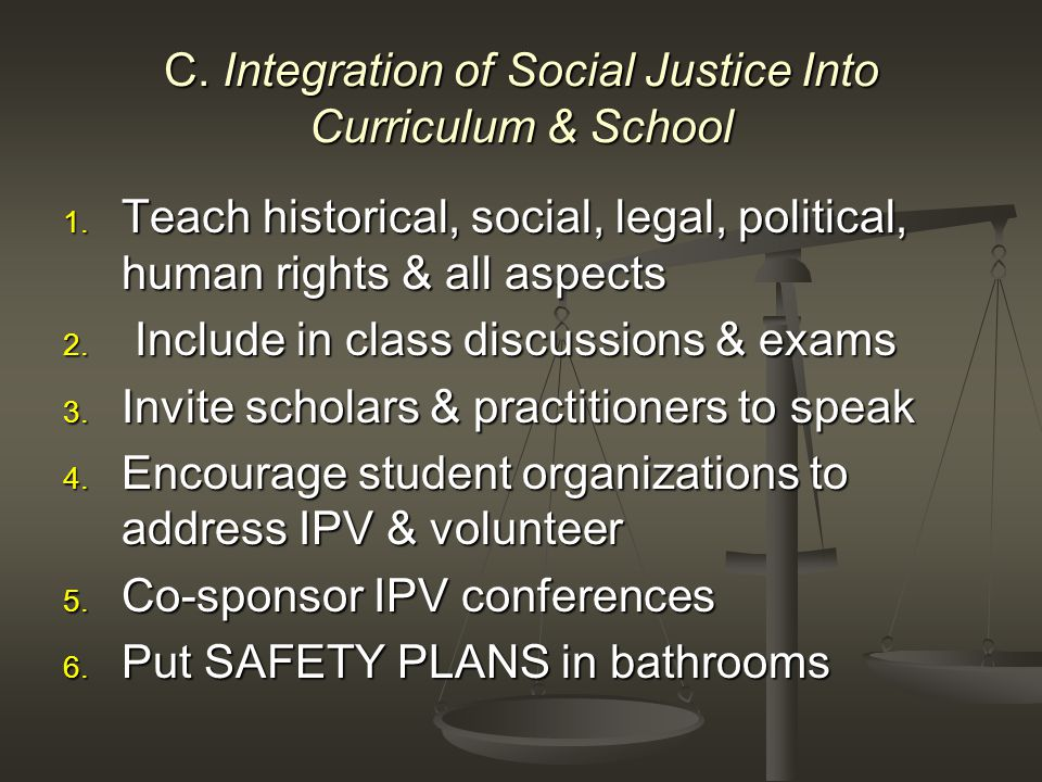 C. Integration of Social Justice Into Curriculum & School 1.