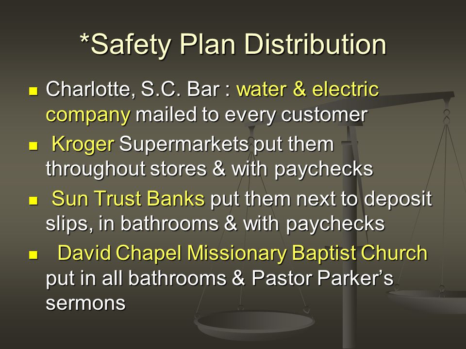 *Safety Plan Distribution Charlotte, S.C.