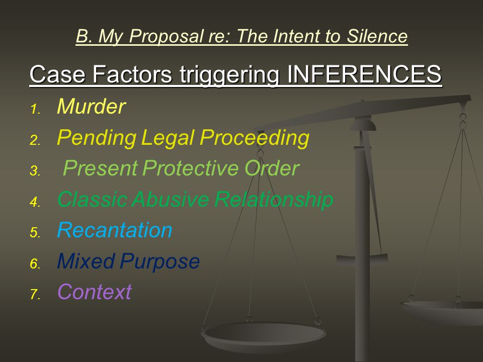 B. My Proposal re: The Intent to Silence Case Factors triggering INFERENCES 1.