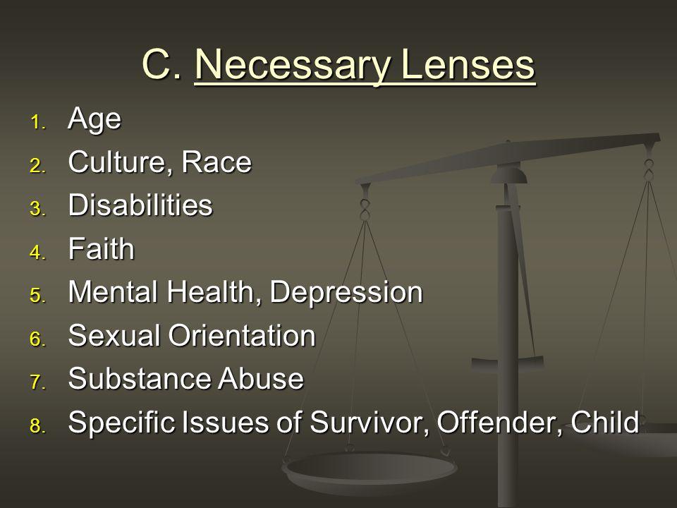 C. Necessary Lenses 1. Age 2. Culture, Race 3. Disabilities 4.