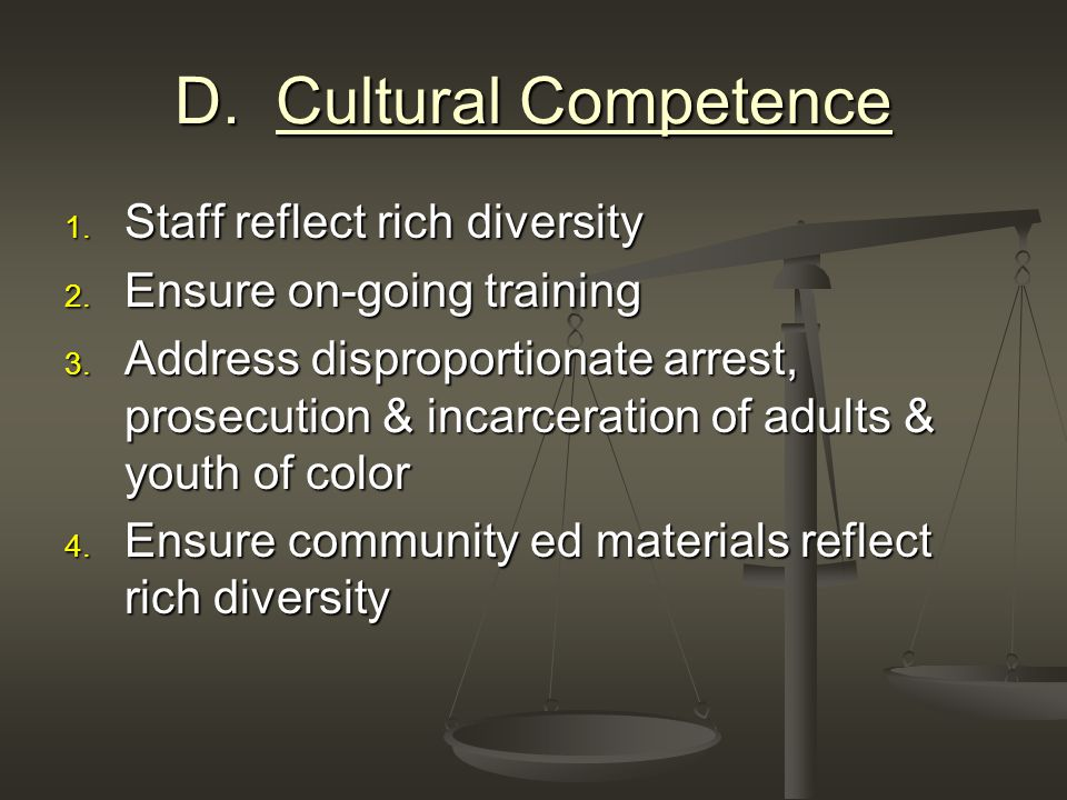 D. Cultural Competence 1. Staff reflect rich diversity 2.
