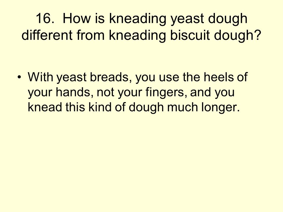 16.How is kneading yeast dough different from kneading biscuit dough.