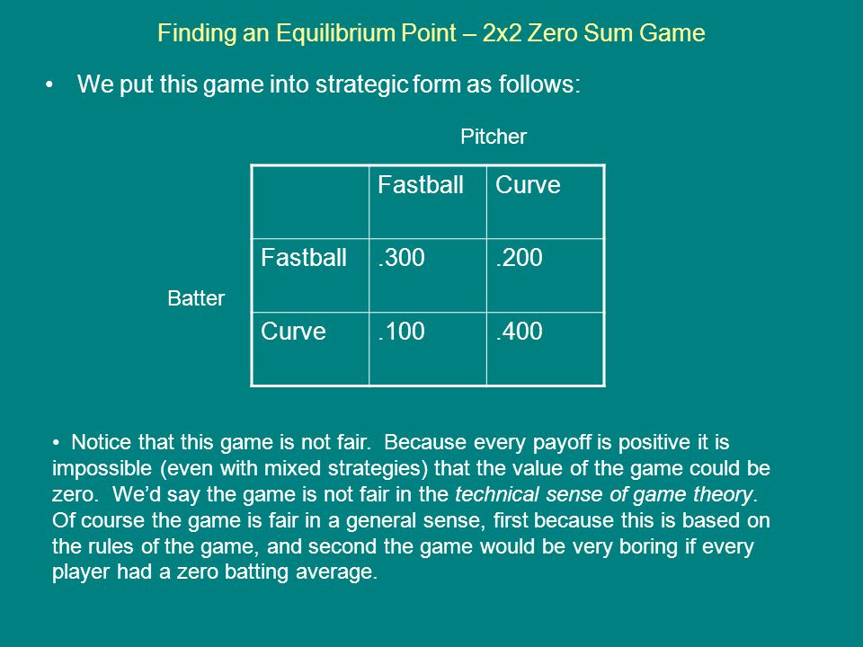 Finding an Equilibrium Point – 2x2 Zero Sum Game We put this game into strategic form as follows: FastballCurve Fastball.300.200 Curve.100.400 Batter