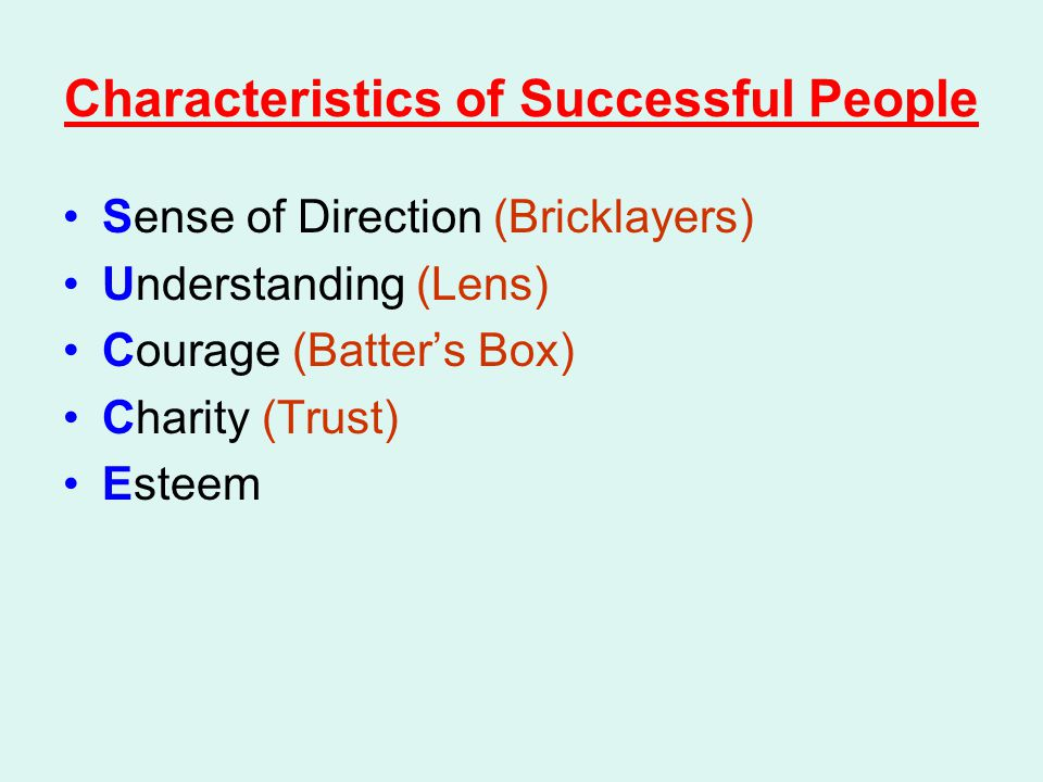Characteristics of Successful People Sense of Direction (Bricklayers) Understanding (Lens) Courage (Batter's Box) Charity (Trust) Esteem