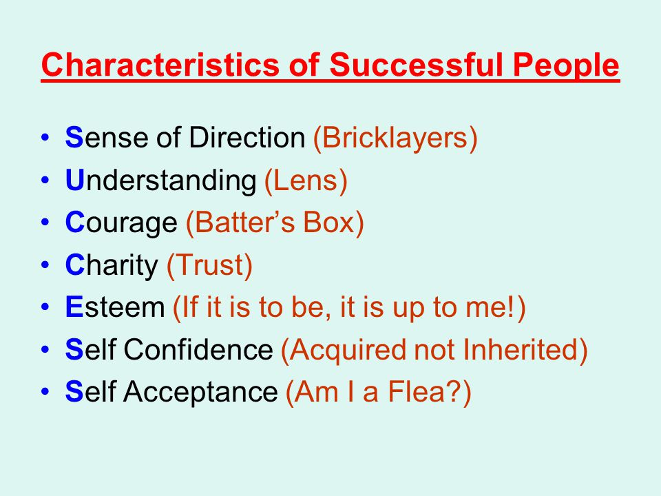 Characteristics of Successful People Sense of Direction (Bricklayers) Understanding (Lens) Courage (Batter's Box) Charity (Trust) Esteem (If it is to be, it is up to me!) Self Confidence (Acquired not Inherited) Self Acceptance (Am I a Flea?)