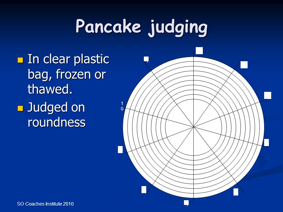 SO Coaches Institute 2010 Pancake judging In clear plastic bag, frozen or thawed. In clear plastic bag, frozen or thawed. Judged on roundness Judged o