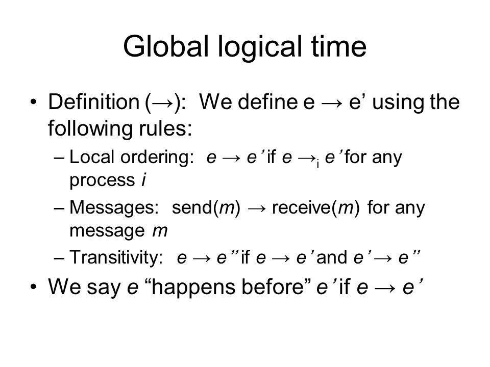 Global logical time Definition (→): We define e → e' using the following rules: –Local ordering: e → e' if e → i e' for any process i –Messages: send(m) → receive(m) for any message m –Transitivity: e → e'' if e → e' and e' → e'' We say e happens before e' if e → e'