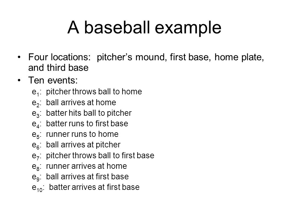 A baseball example Four locations: pitcher's mound, first base, home plate, and third base Ten events: e 1 : pitcher throws ball to home e 2 : ball arrives at home e 3 : batter hits ball to pitcher e 4 : batter runs to first base e 5 : runner runs to home e 6 : ball arrives at pitcher e 7 : pitcher throws ball to first base e 8 : runner arrives at home e 9 : ball arrives at first base e 10 : batter arrives at first base