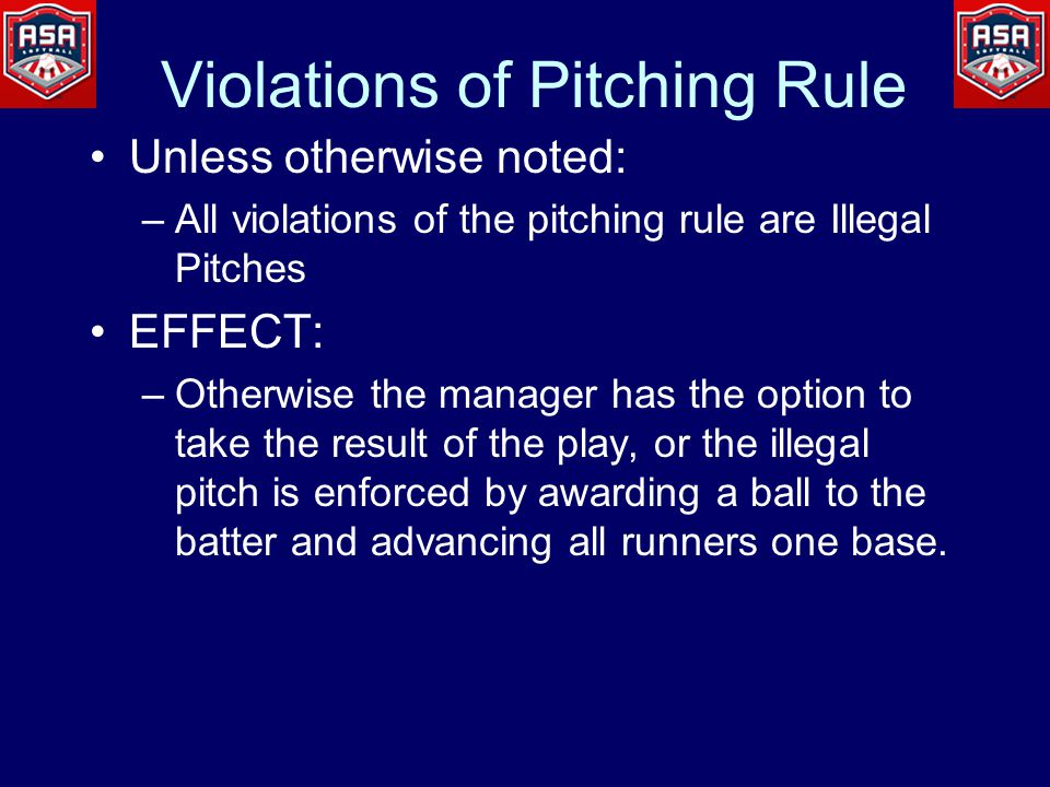 Violations of Pitching Rule Unless otherwise noted: –All violations of the pitching rule are Illegal Pitches EFFECT: –Otherwise the manager has the op