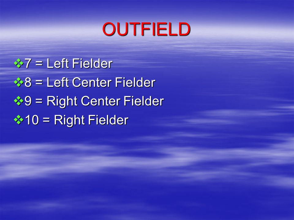 OUTFIELD  7 = Left Fielder  8 = Left Center Fielder  9 = Right Center Fielder  10 = Right Fielder