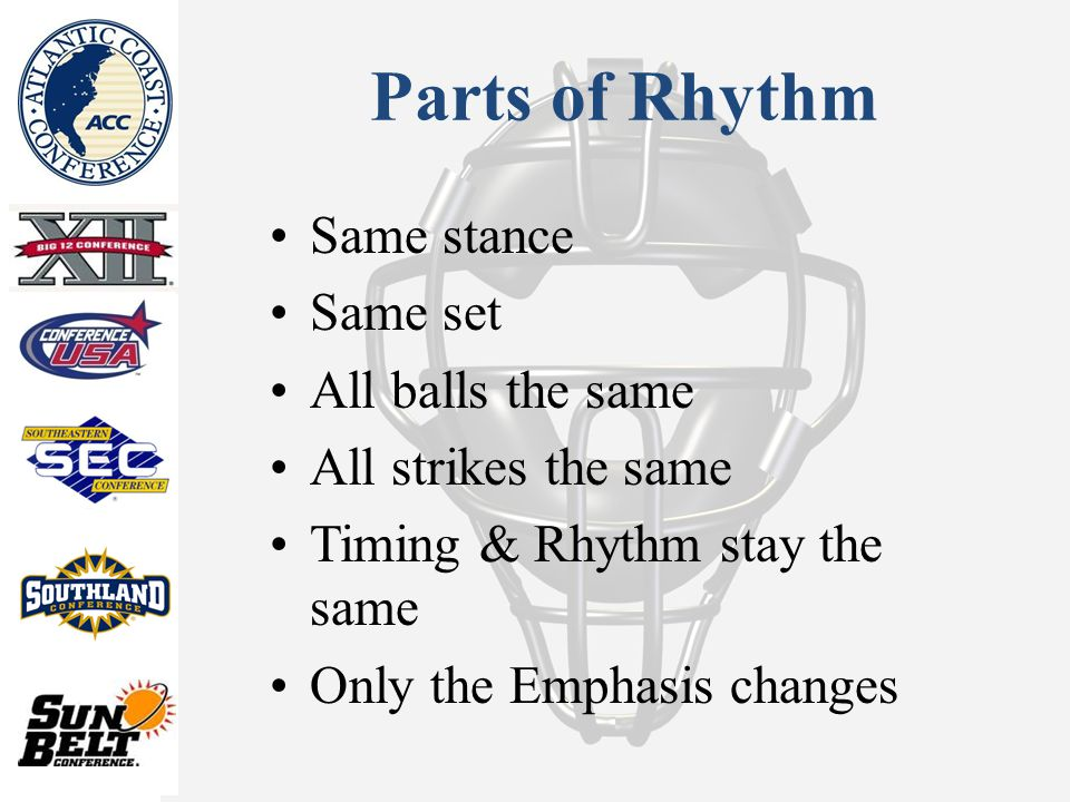 Parts of Rhythm Same stance Same set All balls the same All strikes the same Timing & Rhythm stay the same Only the Emphasis changes
