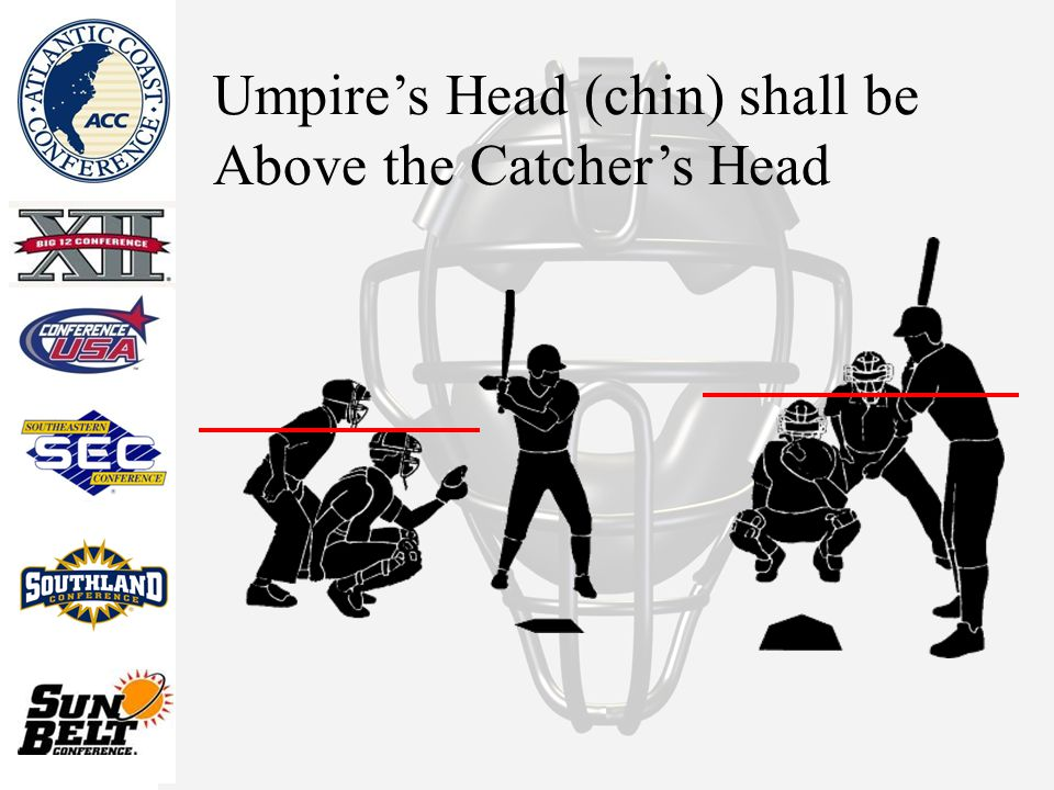 Umpire's Head (chin) shall be Above the Catcher's Head