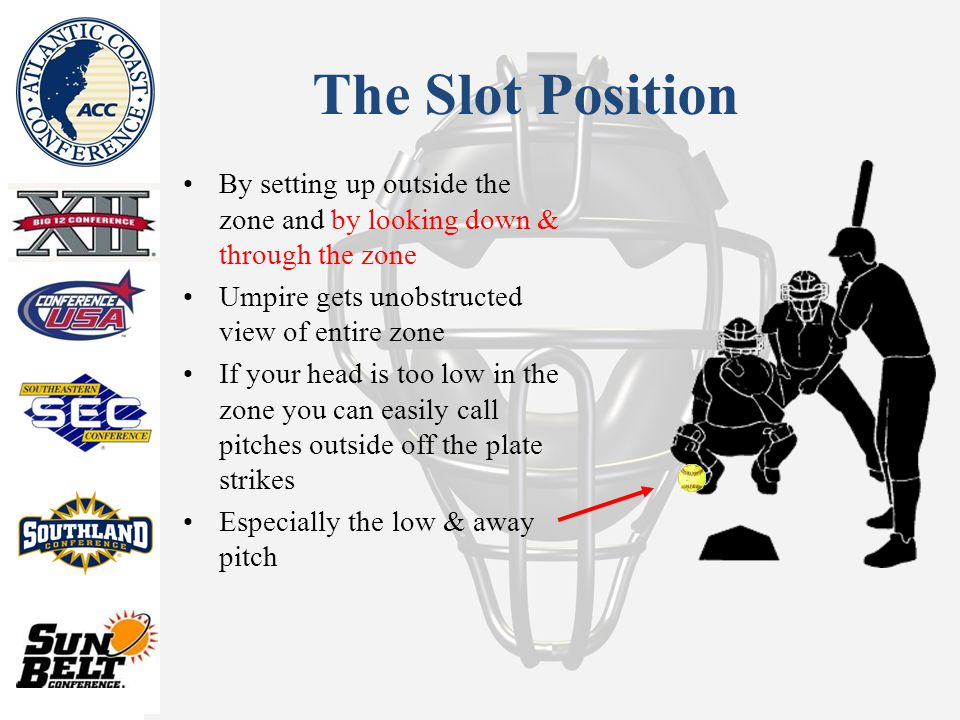 The Slot Position By setting up outside the zone and by looking down & through the zone Umpire gets unobstructed view of entire zone If your head is too low in the zone you can easily call pitches outside off the plate strikes Especially the low & away pitch