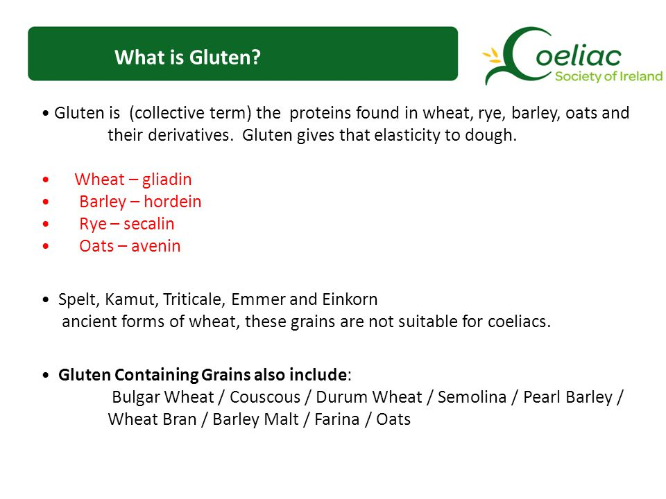 What is Gluten? Gluten is (collective term) the proteins found in wheat, rye, barley, oats and their derivatives. Gluten gives that elasticity to doug