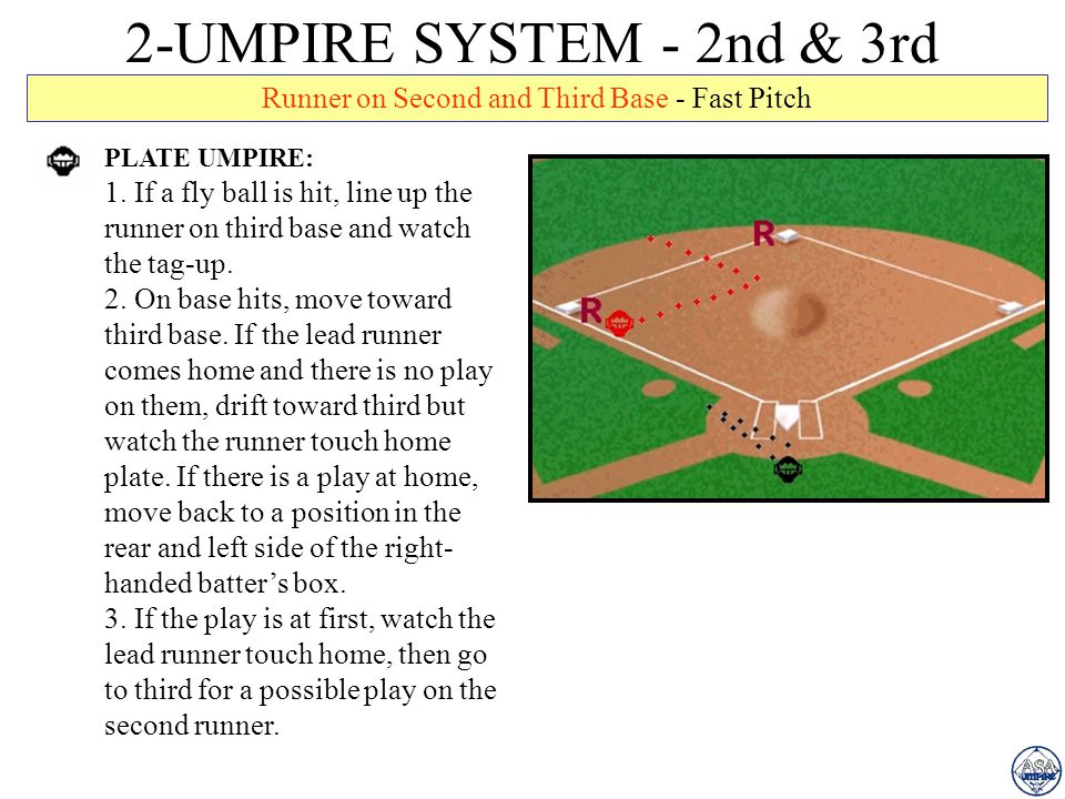 2-UMPIRE SYSTEM - 2nd & 3rd Runner on Second and Third Base - Fast Pitch PLATE UMPIRE: 1.
