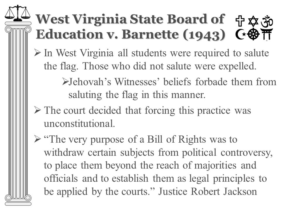 Brown v. Board of Education (1954)  According to the law, until 1954 white and black children had to attend separate schools  At that time most peop