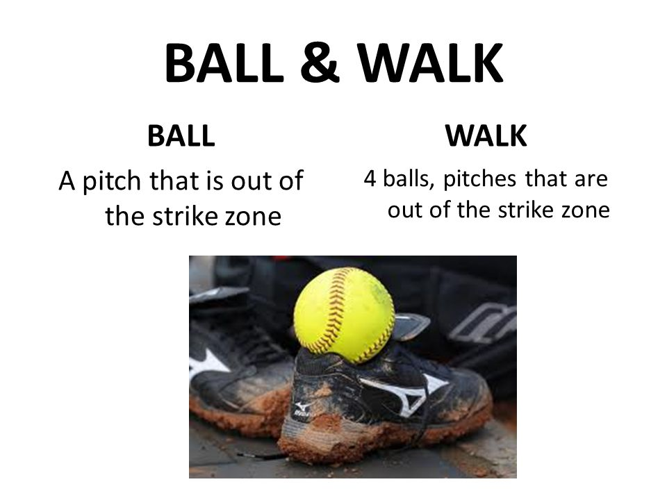 BALL & WALK BALL A pitch that is out of the strike zone WALK 4 balls, pitches that are out of the strike zone