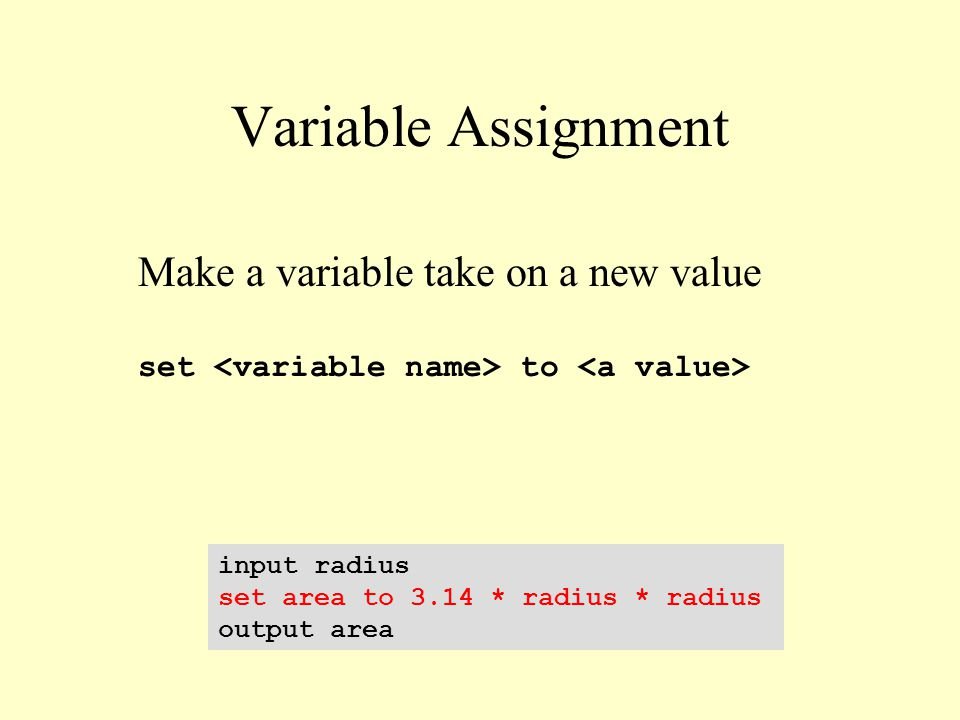 Variable Assignment input radius set area to 3.14 * radius * radius output area Make a variable take on a new value set to