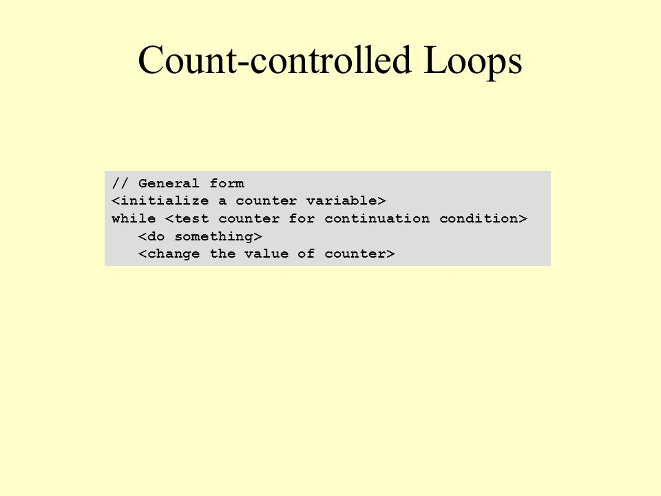 Count-controlled Loops // General form while
