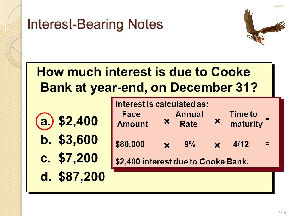 Slide 9 13-9 Interest-Bearing Notes Assume Eagle Boats' year-end is December 31.