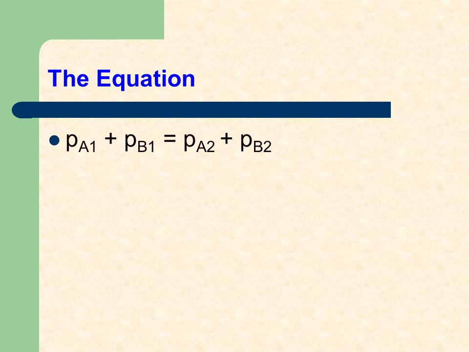 The Equation p A1 + p B1 = p A2 + p B2