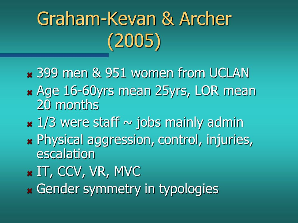 Graham-Kevan & Archer (2005) 399 men & 951 women from UCLAN Age 16-60yrs mean 25yrs, LOR mean 20 months 1/3 were staff ~ jobs mainly admin Physical aggression, control, injuries, escalation IT, CCV, VR, MVC Gender symmetry in typologies