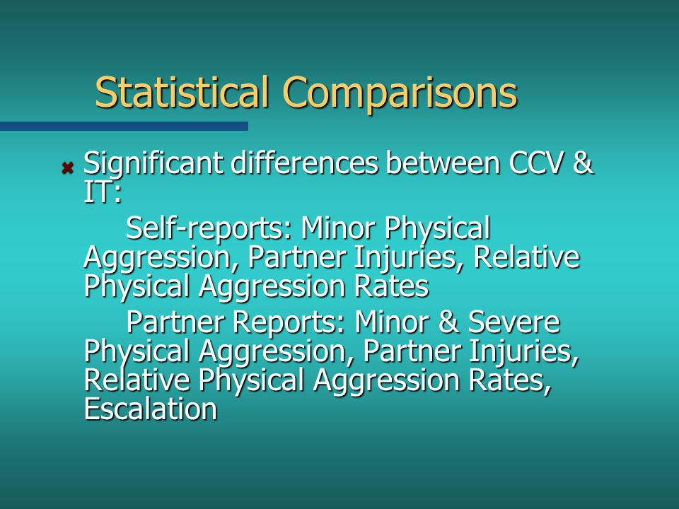 Statistical Comparisons Significant differences between CCV & IT: Self-reports: Minor Physical Aggression, Partner Injuries, Relative Physical Aggress