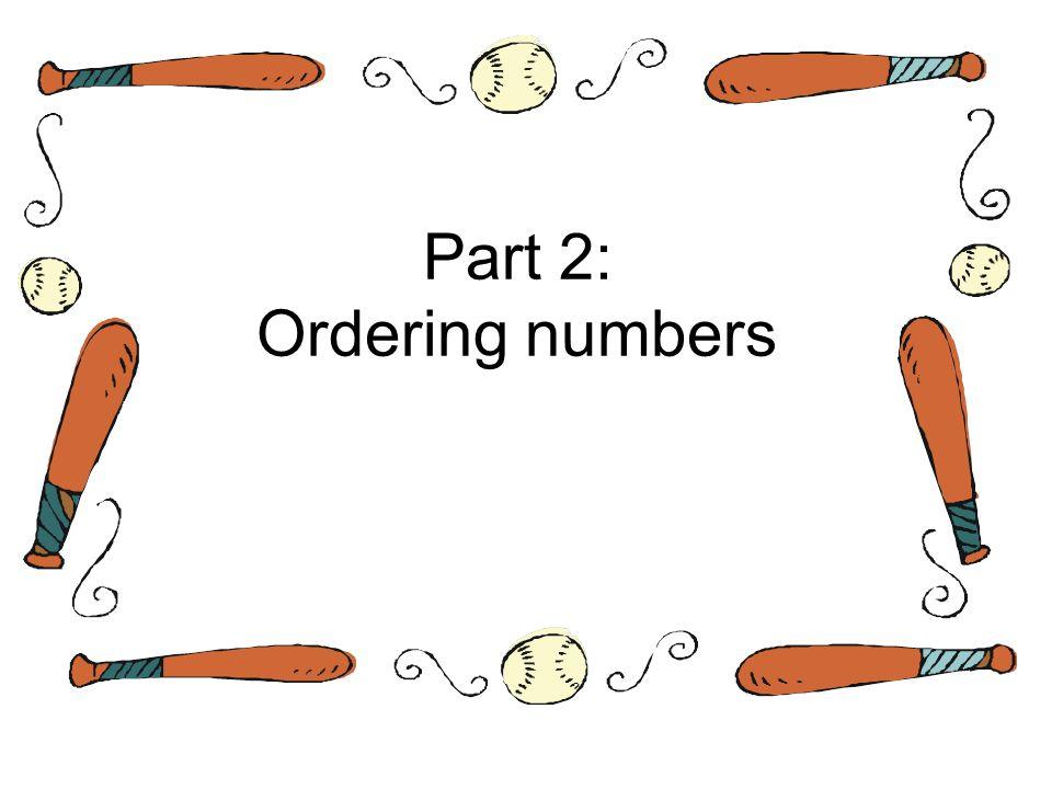 Part 2: Ordering numbers