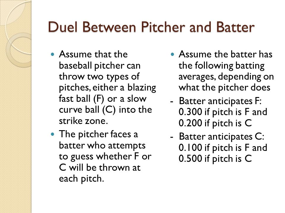 Duel Between Pitcher and Batter Assume that the baseball pitcher can throw two types of pitches, either a blazing fast ball (F) or a slow curve ball (C) into the strike zone.