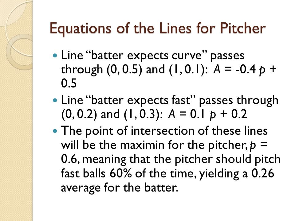 """Equations of the Lines for Pitcher Line """"batter expects curve"""" passes through (0, 0.5) and (1, 0.1): A = -0.4 p + 0.5 Line """"batter expects fast"""" passe"""
