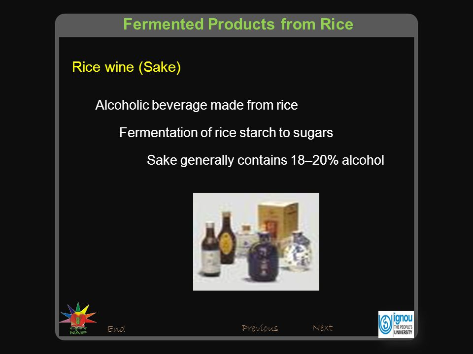 Alcoholic beverage made from rice Sake generally contains 18–20% alcohol Rice wine (Sake) Previous Next End Fermentation of rice starch to sugars Fermented Products from Rice