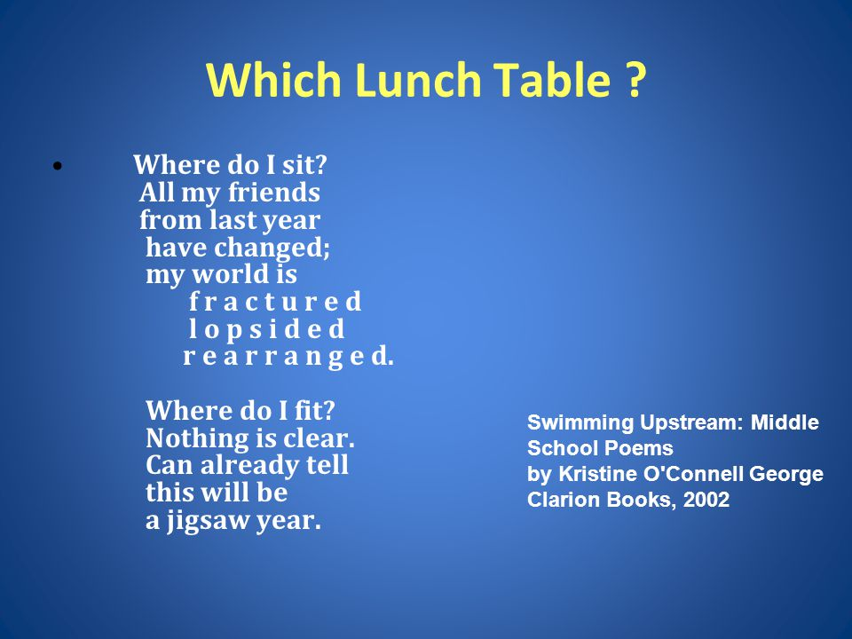 Which Lunch Table ? Where do I sit? All my friends from last year have changed; my world is f r a c t u r e d l o p s i d e d r e a r r a n g e d. Whe