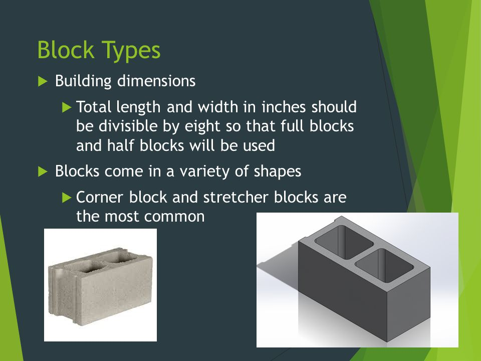 Block Types  Building dimensions  Total length and width in inches should be divisible by eight so that full blocks and half blocks will be used  B