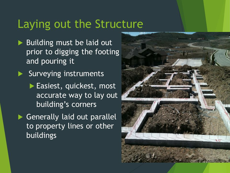 Laying out the Structure  Building must be laid out prior to digging the footing and pouring it  Surveying instruments  Easiest, quickest, most acc