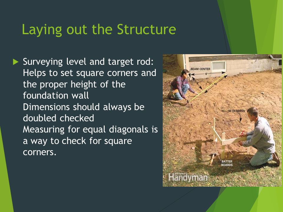 Laying out the Structure  Surveying level and target rod: Helps to set square corners and the proper height of the foundation wall Dimensions should