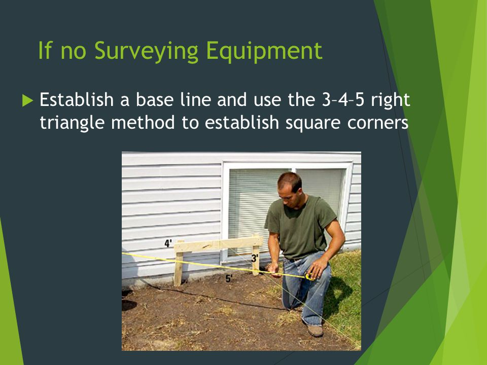 If no Surveying Equipment  Establish a base line and use the 3–4–5 right triangle method to establish square corners