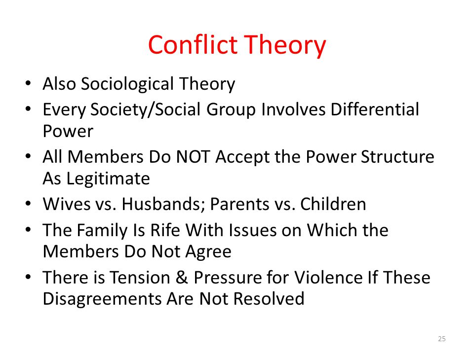 Conflict Theory Also Sociological Theory Every Society/Social Group Involves Differential Power All Members Do NOT Accept the Power Structure As Legitimate Wives vs.