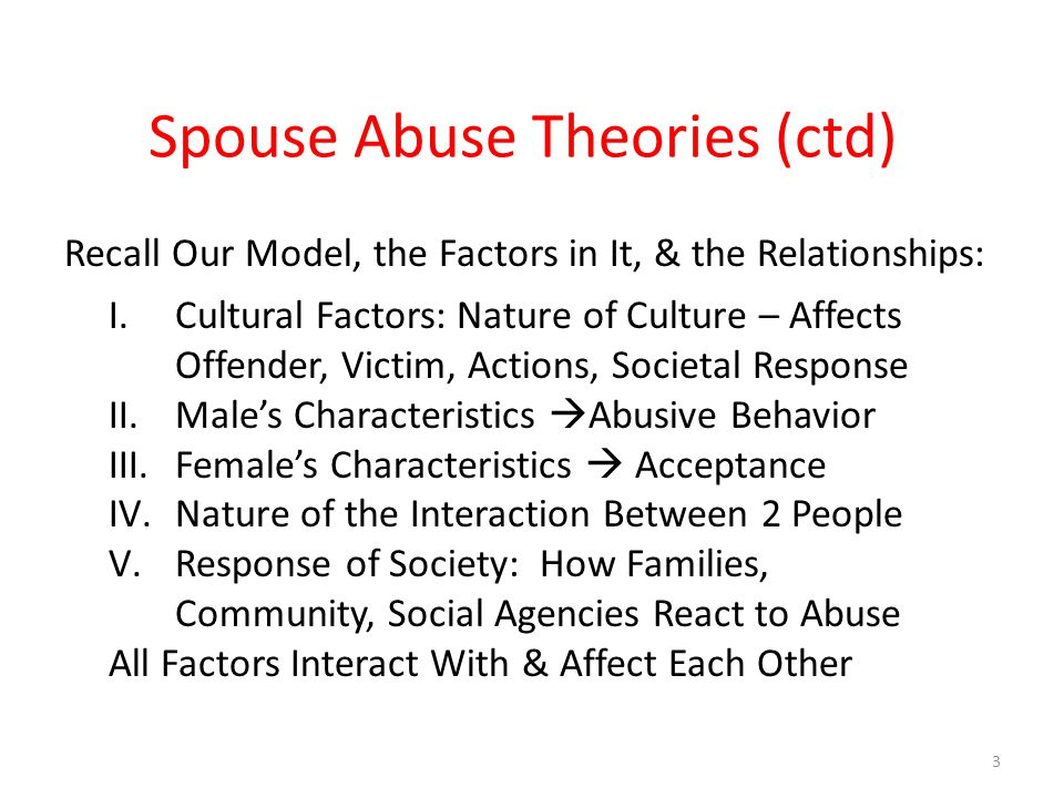 Spouse Abuse Theories (ctd) Recall Our Model, the Factors in It, & the Relationships: I.Cultural Factors: Nature of Culture – Affects Offender, Victim, Actions, Societal Response II.Male's Characteristics  Abusive Behavior III.Female's Characteristics  Acceptance IV.Nature of the Interaction Between 2 People V.Response of Society: How Families, Community, Social Agencies React to Abuse All Factors Interact With & Affect Each Other 3
