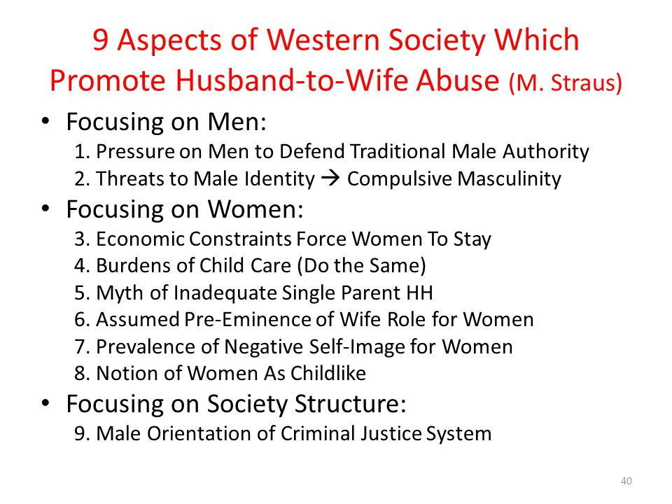 9 Aspects of Western Society Which Promote Husband-to-Wife Abuse (M.