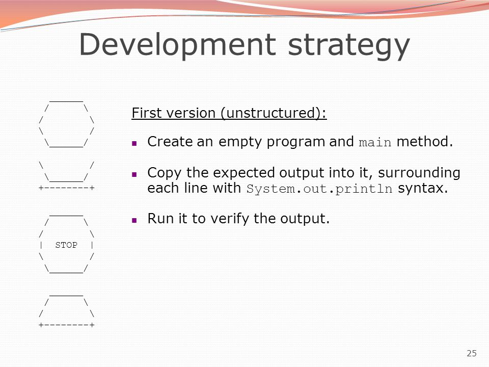 25 Development strategy ______ / \ \ / \______/ \ / \______/ +--------+ ______ / \ | STOP | \ / \______/ ______ / \ +--------+ First version (unstruct