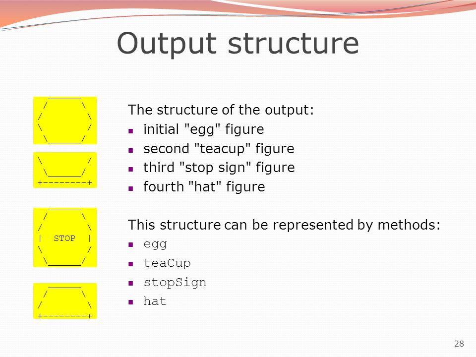 28 Output structure ______ / \ \ / \______/ \ / \______/ +--------+ ______ / \ | STOP | \ / \______/ ______ / \ +--------+ The structure of the output