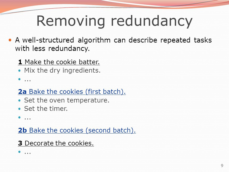 10 A program with redundancy // This program displays a delicious recipe for baking cookies.