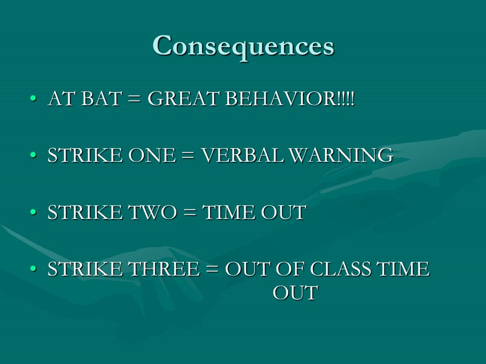 Daily Behavior STRIKES and AT BAT will be recorded everyday in the agenda.