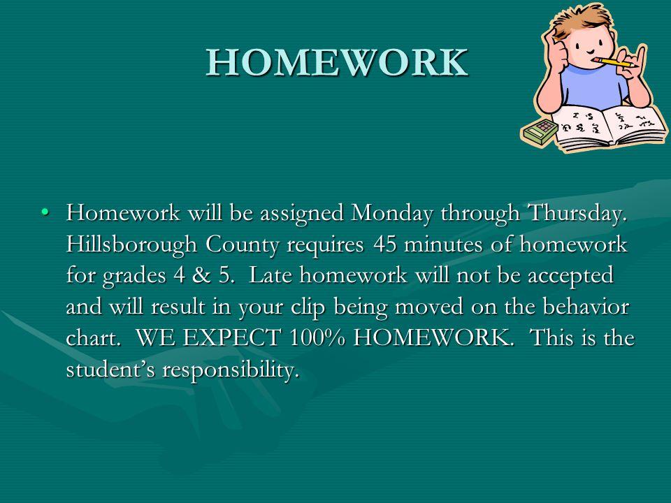 HOMEWORK Homework will be assigned Monday through Thursday.