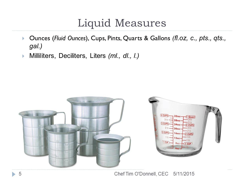 Liquid Measures 5/11/2015Chef Tim O Donnell, CEC5  Ounces (Fluid Ounces), Cups, Pints, Quarts & Gallons ( fl.oz, c., pts., qts., gal.)  Milliliters, Deciliters, Liters (ml., dl., l.)