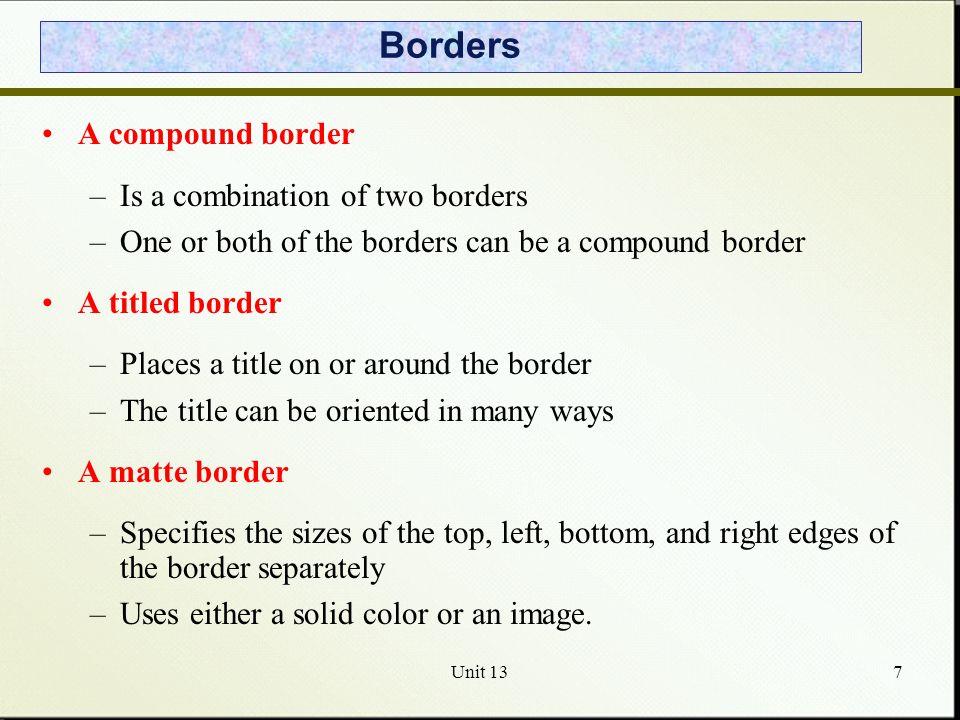 Unit 138 The BorderDemo Program