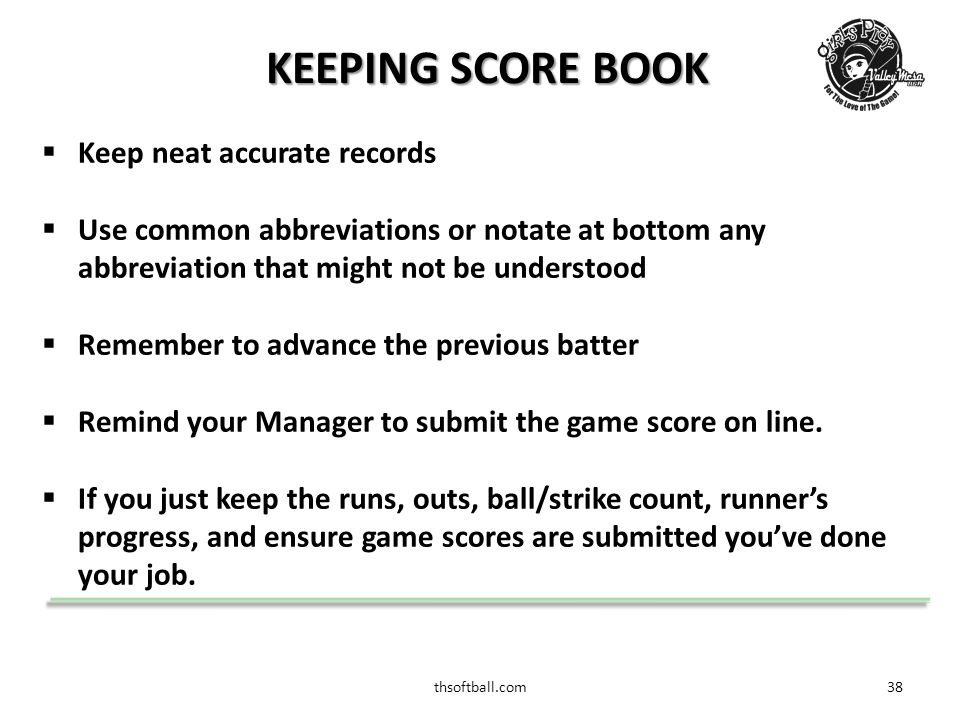 thsoftball.com38 KEEPING SCORE BOOK  Keep neat accurate records  Use common abbreviations or notate at bottom any abbreviation that might not be understood  Remember to advance the previous batter  Remind your Manager to submit the game score on line.