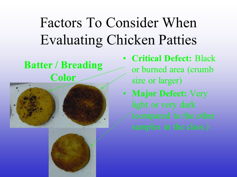 Factors To Consider When Evaluating Chicken Patties Critical Defect=>1 meat void Major Defect=½ – 1 meat void.