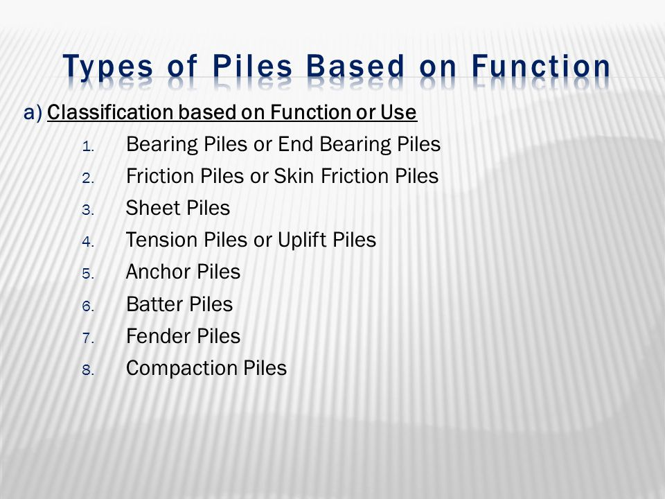 a) Classification based on Function or Use 1. Bearing Piles or End Bearing Piles 2. Friction Piles or Skin Friction Piles 3. Sheet Piles 4. Tension Pi